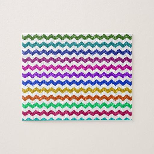 Rainbow glitter chevrons puzzles