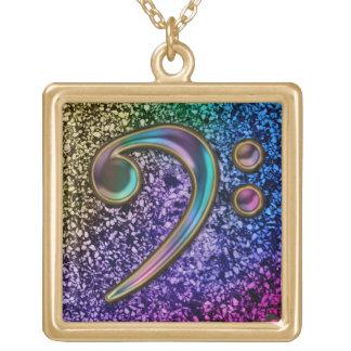 Rainbow Glitter Glassy Music Bass Clef Necklace