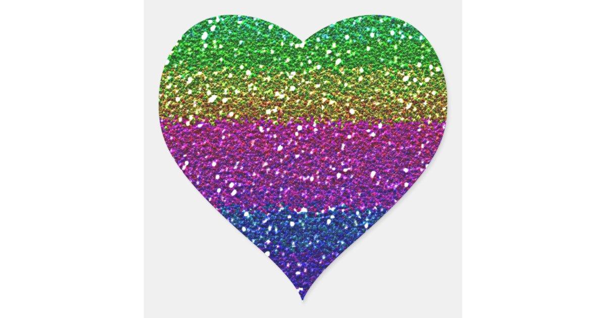 Rainbow Glitter Heart Sticker Zazzle Com