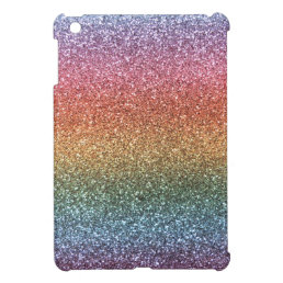 Rainbow glitter iPad mini case