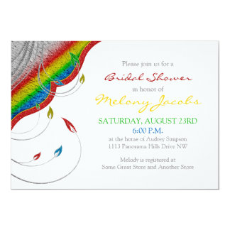 Rainbow Glitter Look Floral Bridal Shower 5x7 Paper Invitation Card