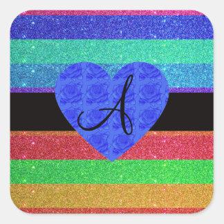 Rainbow glitter monogram blue roses stickers