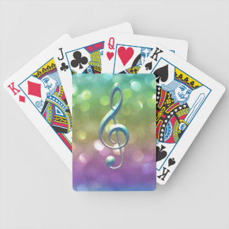 Rainbow Glitter Music Clef Playing Cards