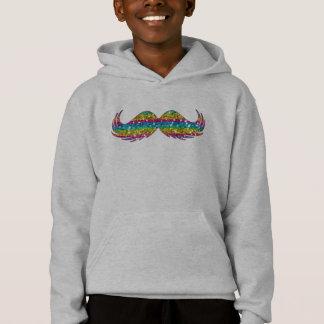 Rainbow Glitter Mustache Hoodie