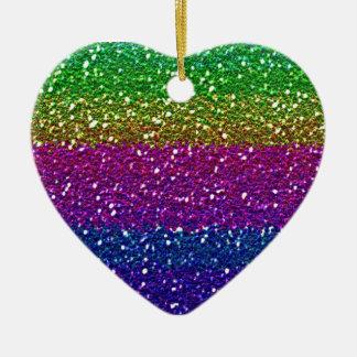 Rainbow glitter christmas tree ornament