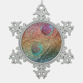 Rainbow glitter peacock feathers ornament