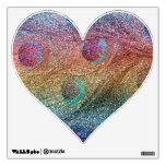 Rainbow glitter peacock feathers wall decal