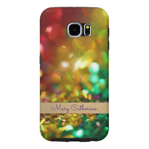 Rainbow glitter Personalized Samsung Galaxy S6 Case