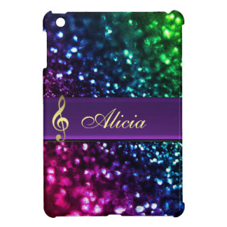 Rainbow Glitter Personalized Gold Music Clef Case Cover For The iPad Mini