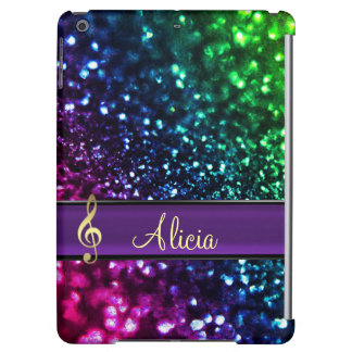 Rainbow Glitter Personalized Gold Music Clef Case iPad Air Cases