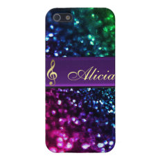 Rainbow Glitter Personalized Gold Music Clef Case iPhone 5 Cases