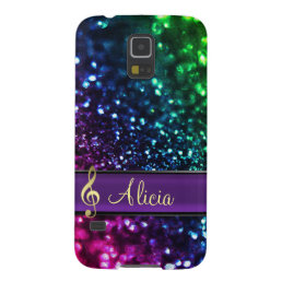 Rainbow Glitter Personalized Music Galaxy S5 Case