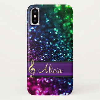 Rainbow Glitter Personalized Music iPhone X  Case