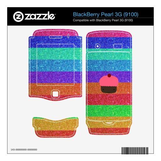 Rainbow glitter pink cupcake BlackBerry pearl skin