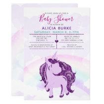 Rainbow Glitter Purple Unicorn Girls Baby Shower Card