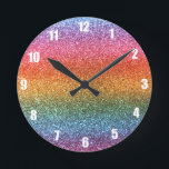 """Rainbow glitter round clock<br><div class=""""desc"""">Trendy and modern bright rainbow glitter gift ideas,  with red,  pink,  yellow,  orange,  green,  blue and purple colors (not real glitter). Ideal for women,  girls and teenagers.</div>"""