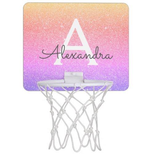Rainbow Glitter & Sparkle Monogram Name Mini Basketball Hoop