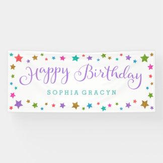 Rainbow Glitter Stars Purple Happy Birthday Banner