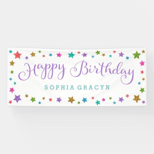 rainbow glitter stars purple happy birthday banner zazzle com