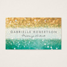 Rainbow Glitter Teal And Gold Business Card at Zazzle