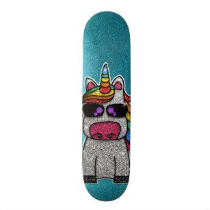 Rainbow Glitter Unicorn Sparkly Blue Sparkles Sk8r Skateboard