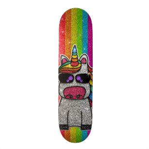 Rainbow Glitter Unicorn Sparkly Gold Sparkles Sk8r Skateboard