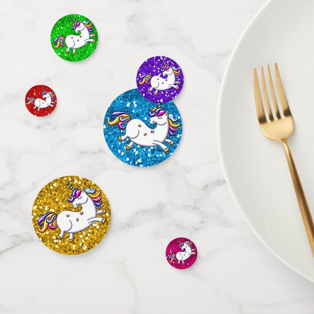 Rainbow Glitter Unicorns Confetti