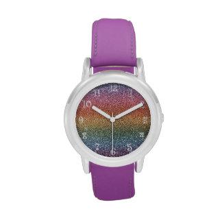 Rainbow glitter watches