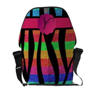 Rainbow glitter zebra stripes monogrammed courier bags