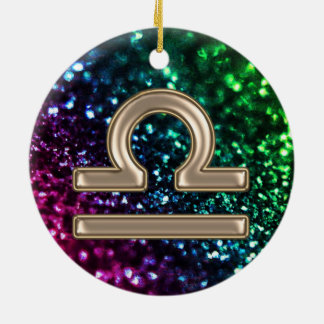 Rainbow Glitter Zodiac Sign Libra Ornament