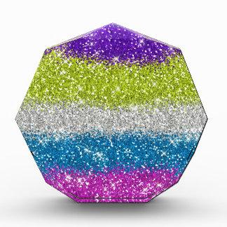 Rainbow Glitters Stripes Acrylic Award