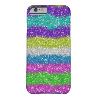 Rainbow Glitters Stripes Barely There iPhone 6 Case