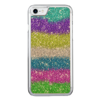 Rainbow Glitters Stripes Carved iPhone 7 Case