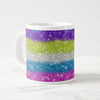 Rainbow Glitters Stripes Large Coffee Mug