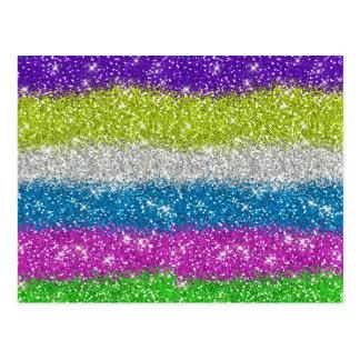 Rainbow Glitters Stripes Postcard