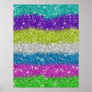 Rainbow Glitters Stripes Poster