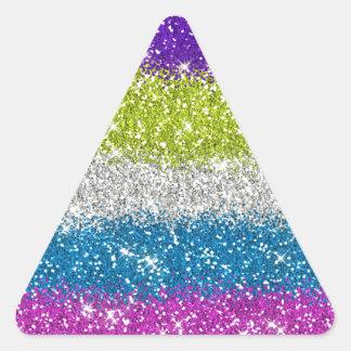 Rainbow Glitters Stripes Triangle Sticker