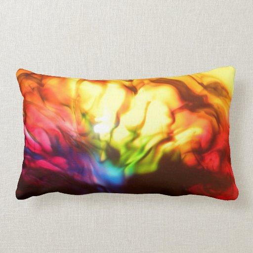 Rainbow glow bright abstract striped throw cushion pillows