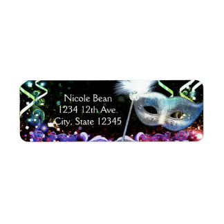 Rainbow Glow Masquerade Mask Birthday Party Label