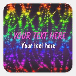 Rainbow Glow neon party sticker label
