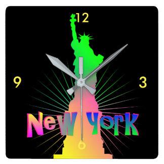 Rainbow Glow New York American Statue Of Liberty Square Wall Clock
