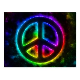 Rainbow Glow Peace Sign Postcard