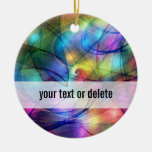 rainbow glowing lights Double-Sided ceramic round christmas ornament