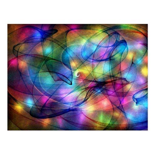 rainbow glowing lights postcard