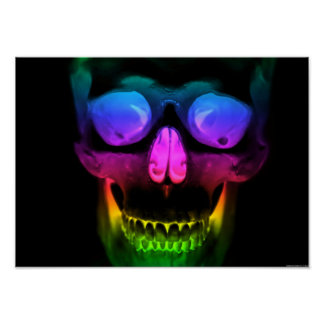 Rainbow Glowing Skull Surreal Gothic Horror Poster