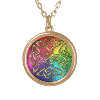 Rainbow Gold 4 Sided Celtic Knot Necklace