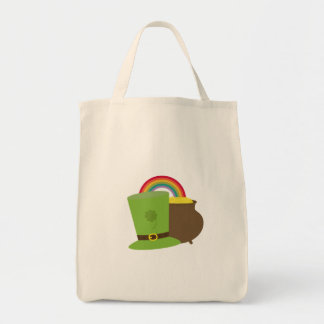 rainbow gold and leprechaun tote bag