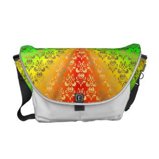 Rainbow gold damask white messenger bag