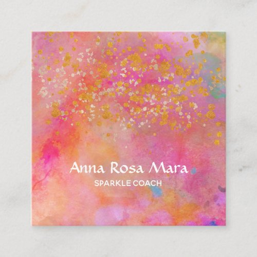 Rainbow Gold Sparkle Glitter Abstract Square Business Card