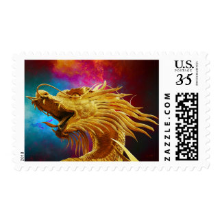 Rainbow Golden Dragon Chinese New Year Stamp